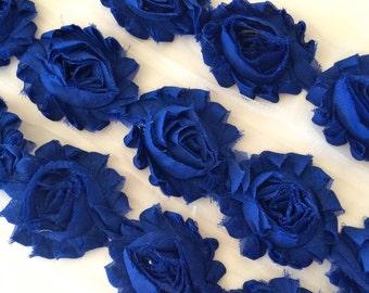 """Royal Blue Shabby Rose Trim 2.5"""" Shabby Flowers Shabby Chiffon Flowers - Solid Shabby Chic Trim Wholesale Rosette trim 6cm 1 yard = #610"""