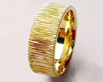 Modern wedding ring, unusual wedding ring, patterned wedding ring, gold wedding ring, unisex, 14k yellow gold - Velvet No.9