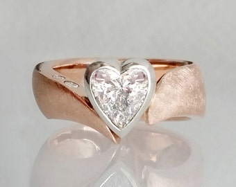Heart diamond engagement ring, two tone engagement ring, heart solitaire ring, 14k rose and white gold, fits 1ct diamond (sold separately)