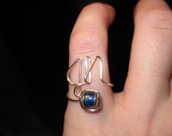Wire Wrapped Initial Mood Ring MADE to ORDER Adjustable