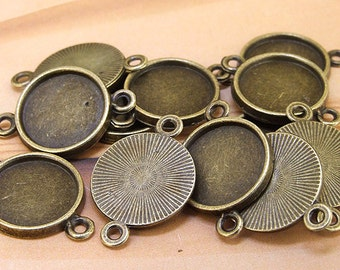 100pcs Circle Cabochon Setting Base Antiqued Bronze DIY Kit Fit Necklace Bracelet Pendant Jewelry Filigree fit 10mm 12mm 14mm 16mm cabochon