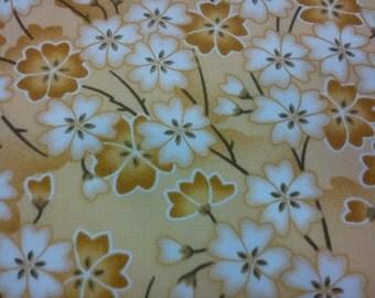 Japanese cherry blossom, yellow, fat quarter, pure cotton fabric