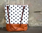 polka dot and caramel leather tote bag // white and black polka dot tote // leather tote by rouge and whimsy