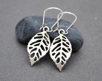 Cyber Monday sale Silver Leaf Earrings Silver Drop Earrings autumn Leaf Earrings Nature Jewelry Silver Dangle Earrings eco charm modern boh