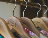 Woodburning Hanger, Natural wood hanger, custom wedding hanger, wedding party gift, gift under 20, bridesmaid rustic hanger, outdoor wedding