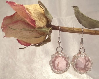 Pink and Silver Marble Earrings
