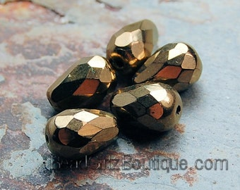 Light Bronze Czech Glass 10x7mm Teardrop Beads -12 czt005