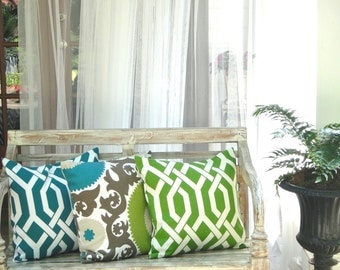 Indoor /Outdoor Decorative Pillow Covers In Fahri Aquamarine,Same Fabric on Both Sides, Available In Different Sizes