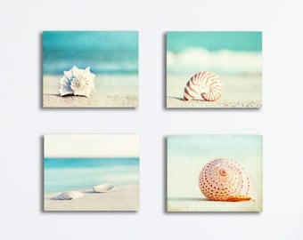 Seashell Canvas Print Set - beach photography four canvas gallery wrap aqua blue teal sea shells turquoise ocean seashore coastal wall art