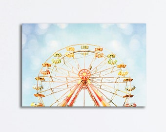 "Ferris Wheel Canvas Print, nursery photography carnival wall art blue red yellow gallery wrapped canvas childrens room artwork, ""Good Times"""