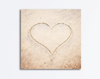 "Heart Canvas Print - love beach photography nursery wall art heart canvas gallery wrap beige coastal light brown cream, ""Heart in the Sand"""