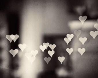 "Heart Black and White Photography, love bokeh neutral print dark grey artwork gray wall art large photography sparkle lights, ""Love Endures"""