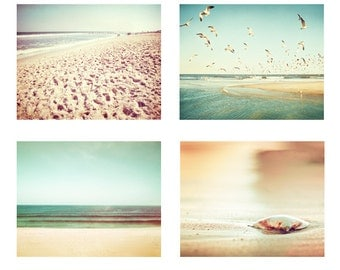 Mint Beach Set of Four, teal turquoise beige cream ocean coastal light peach photo wall set gold seascape pictures sea photographs landscape