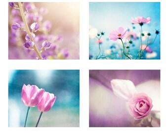 Blue Pink Photography Set, Four Nursery Prints, aqua purple flower wall art violet nature photos floral pictures baby girl artwork botanical