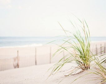 "Calming Beach Photography - grass dune white neutral print coastal wall art light seashore photo cream ocean seaside fence, ""Coastal Calm"""