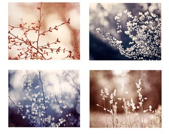 Indigo Brown Nature Photo Set, 4 blue beige cream neutral modern photography branches pictures branch photographs fine botanical wall set