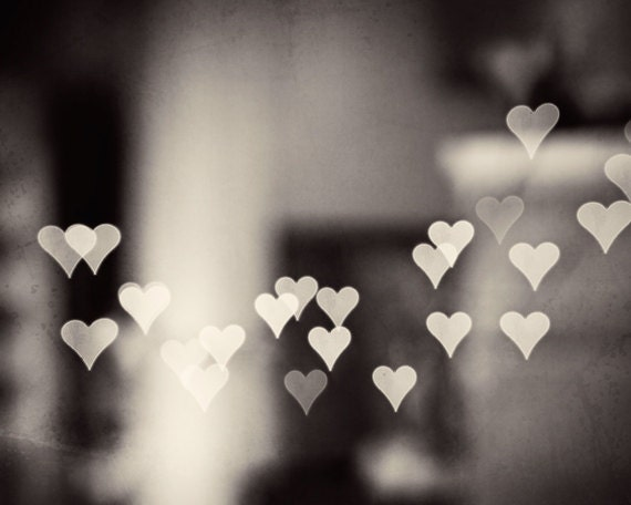 Heart Black and White Photography love bokeh by carolyncochrane