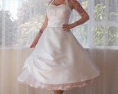 1950s 'Cecilia' Pin up Wedding Dress with Sweetheart Neckline and Pearl Button Detail with Organza Petticoat - Custom Made To Fit