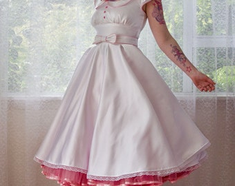 1950s 'Paige' Pin up Wedding Dress with Scoop-neck, Pan Collar, Piping & Full Circle Skirt with Bow Belt and Petticoat - Custom made to fit