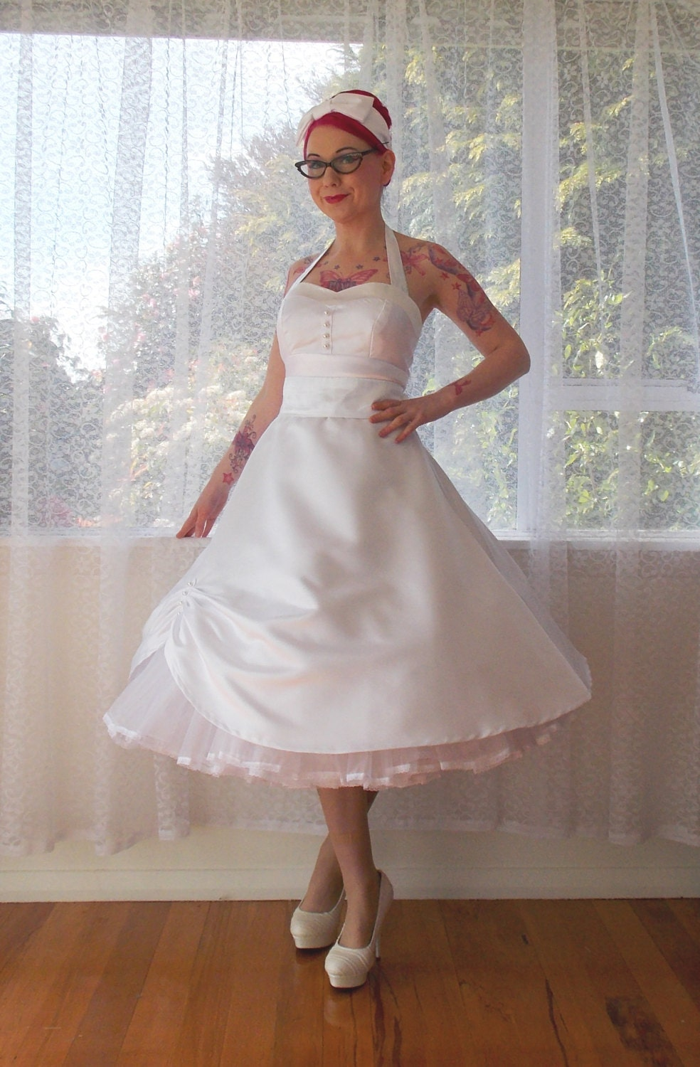 1950s &39Cecilia&39 Pin up Wedding Dress with by PixiePocket on Etsy