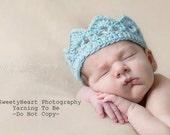 Ready To Ship Crochet Prince Crown  Excellent Photo Prop  Newborn size Light Blue