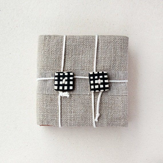 Mini notebook - Fabric covered - Natural materials - Unisex OOAK