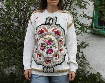 80s Floral Sweater Roses Knit Sweater