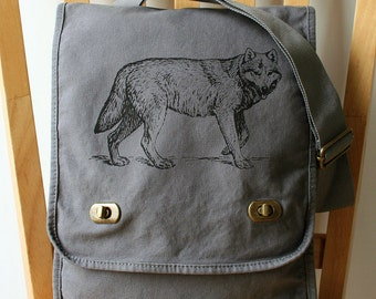 Wolf Messenger Bag Canvas Laptop Bag Carryall