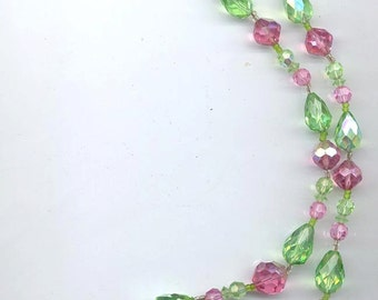 Sparkling vintage Vendome necklace - pink and green crystals