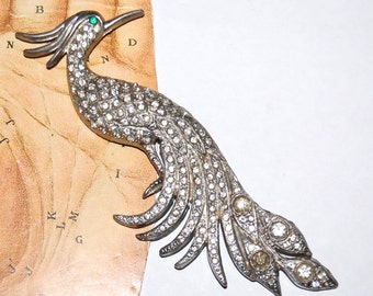 Huge Vintage 30s 40s Rhinestone Statement Bird Brooch