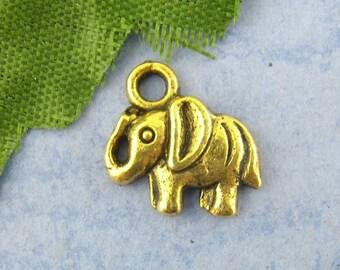 10 Gold Plated Elephant Charm Pendants - (1127)