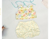 April Showers, May Flowers Tie Back Girls Floral and Dot Sun Suit Romper from Fleur and Dot Spring Summer 14