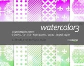 """Modern Digital Paper + watercolor - 057  + Scrapbook Quality Paper Pack  (12 x 12""""- 300 dpi)   6 sheet pack paper + Instant Download + Ombre"""