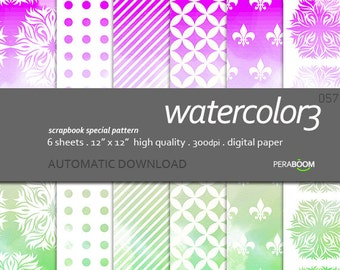 Watercolor digital papers, water color, modern scrapbook , ombre paint, paint, rainbow colors, scrapbook, background pages, green purple