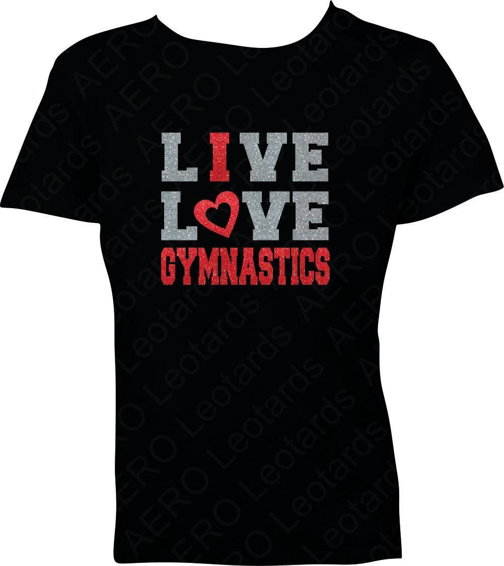 Gymnastics glitter t shirt gymnast gymnastic shirt by Gymnastics t shirt designs