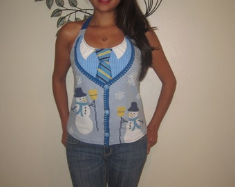 Ladies SNOWMAN Ugly Christmas T shirt Custom Made DIY Halter Top - Size Small and Medium