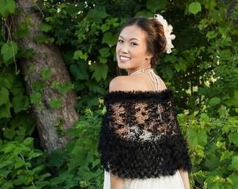 Black Bridal Shawl - Black Bridal Capelet - Bridal Knitting Bridal Shawl - Black Knitting Shawl, ready to ship