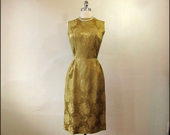 SALE-Coupon Code1950's-1960's Gold Silk Brocade Mad Men  Wiggle Dress