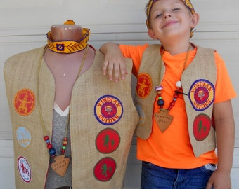 Vintage YMCA Indian Guide Matching Father and Son Outfits
