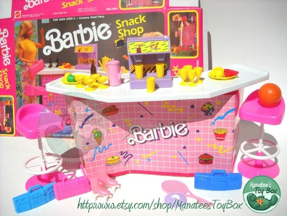 Vintage Barbie Play Set Snack Shop with box 80s Toy