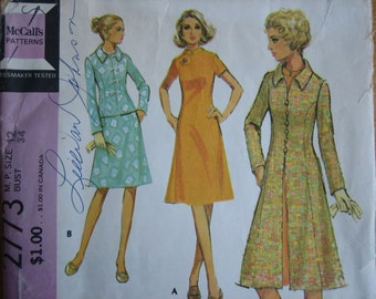 Vintage McCall's Pattern 2773 Miss Petite Dress and Coat or Jacket  1971