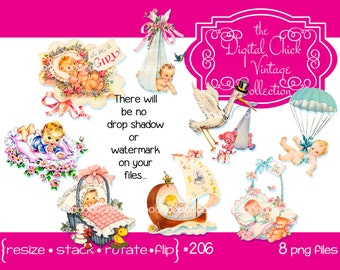 Digital Clipart, instant download, Vintage Victorian Baby Clip Art, Stork, Flowers, Parachute, flowers, basket sailboat toys 8 PNG files 206