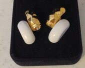 Vintage Monet Gold and White Post Earrings 1 Inch Long Previously Fifteen Dollars ON SALE