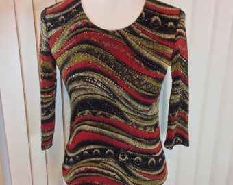 Red Gold and Black Knit Shirt with Gold Metallic Accent Thread by Brittany Black Petite Medium