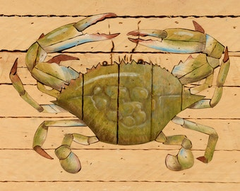 wall hanging, crab, beach decor,original painting,mid century,wood inlay,rustic,cottage,framed,signed,handmade, spring green,robins egg blue