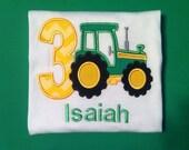 Cute Little Boys Tractor Birthday Shirt. Size 3T