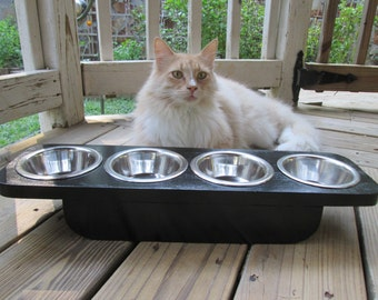 Elevated Pet Feeder - Pet Feeder - Cat Feeder - Raised Cat Feeder - Four stainless steel 1/2 Pint Bowls -