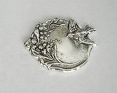 Bird and Flowers Round Antique Silver Ox Brass  Stamping Jewelry Findings no Hole.(3)