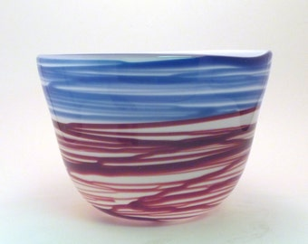 Blue and Red-Wine Fine String Glass Bowl