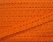 5 yards Orange-Red Crochet Lace Trim, Lace Trim, Crochet Lace Trim, Lace Trims, Lace Trim Ribbon, Orange, Orange lace, Orange lace trim